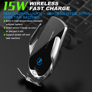 V56 15W Wireless Fast Charging Car Charger Holder Mount For iPhone Smartphone