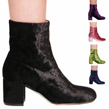Block Synthetic Leather Ankle Boots for Women