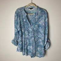 Zac & Rachel Women's Top Size XL Popover Blouse 3/4 Roll-Tab Sleeves Paisley