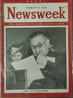 1946 Newsweek February 11 Bevin Watchful UNO Nagasaki Fallout Ills FAST USA SHIP