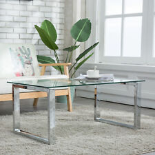 Glass & Stainless Steel Coffee Table Side End Table Living Room Furniture Clear