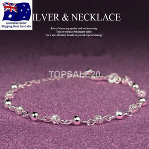 925 Sterling Silver Plated Barefoot Bead Ankle Chain Bracelet Anklet jewellery