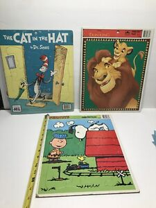3 Vintage Frame Tray Puzzles Peanuts,The Cat In The Hat, Lion King 1965-1985.