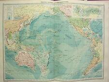 1920 gran mapa ~ Océano Pacífico comunicaciones Steamer rutas Cables Inalámbrica