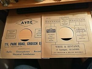 TWO VINTAGE 78 RECORD COVERS WHITE SENTANCE SLEAFORD + AYRE PARK RD CROUCH END