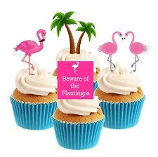 Novelty Flamingo  Collection 12 Edible Stand Up wafer paper cake toppers