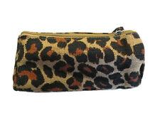 New Lalu Lalu Womens Ladies Girls Leopard Print Jute Zipper Cosmetic Purse Bag
