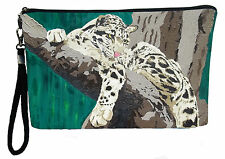 Clouded Leopard Pouch Wristlet with detachable strap - From my orginal Painting