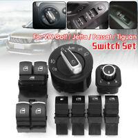 7pc Headlight Mirror Window Fuel Gas Switch Set For VW Golf MK 5 6 Jetta Passat