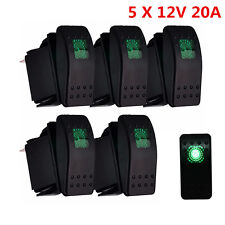 5pcs Waterproof 12V 20A 4Pin Rocker Toggle Switch Green LED For Car Marine Boat