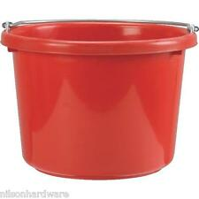 "Red 8 Quart 11 1/2"" Dia X 13 3/4"" H Plastic Poly Feed Water Bucket Pail P8Red"