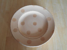 Bella Ceramica PASTIS DOTS AND STRIPES Set of 6 Dinner Plates Tan Gold Beige