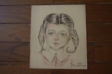 "Vintage Amatuer Hand Drawing Crayon ""Meti 1949"" Little Girl Pig Tails Braids"