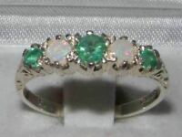 Antique Style Solid 14ct White Gold Natural Emerald & Opal Ring English Hallmark