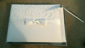 New in Box Hortense B Hewitt Beaded & Embroidered White Guest Book w/ Pen