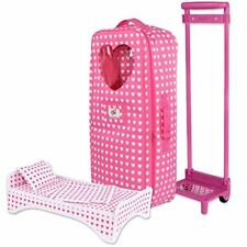 Doll Travel Carrier Trolley With Bed For American Girl & Other 18 Inch Dolls