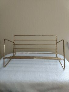 Vintage 1960s, 70's Mid Century Metal Wire Book Rack Shelf Gold Tone