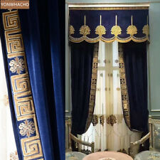 European Palace velvet embroidered blue cloth blackout curtain valance B691
