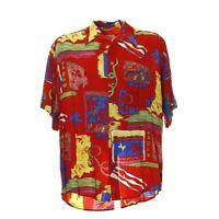 Herren Vintage Kurzarmhemd Gr. L Freizeit Shirt Mix Muster Retro Viskose