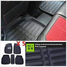 5XPU Leather Car Floor Mats Front Rear in Black All Weather Interior Mat Carpets