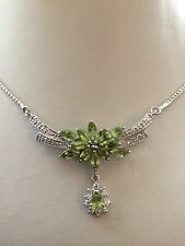"""High End! 23.46CTNATURAL GREEN PERIDOT  STERLING 925 SILVER NECKLACE 17.5"""""""