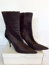 PRADA DARK BROWN LEATHER CALF LENGTH BOOTS SIZE 7.5/ 40.5