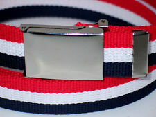 "Canvas Military WEB Belt USA FLAG STRIPES SILVER Pop Flip Top Buckle 37"" x 1 1/4"