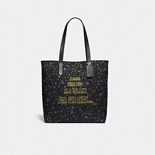 Coach Star Wars F88038 SVA47 Black Canvas Tote Bag Blue Stars Scroll Print NEW