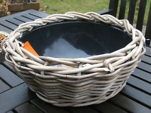 Korb Kubu Pflanzkorb mit Schale Deko Weide grau rund  D 40 cm Höhe 17 cm