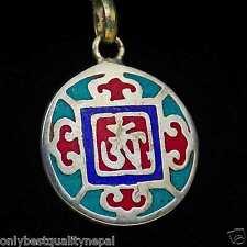 Amuleto Mandala de colores Rojo Azul Colgante Turquesa Sencillo latón A91