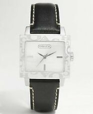 NEW COACH AMANDA BLACK LEATHER BAND,SIGNATURE COACH LOGO BEZEL WATCH C14501180