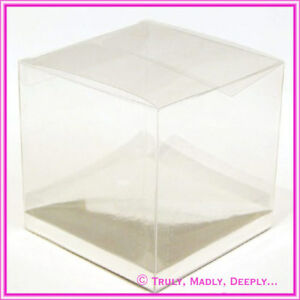 Clear Acetate Cube Boxes - Wedding - Bomboniere / favors with Silver Bases -