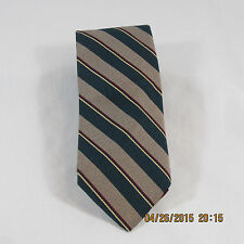 Hathaway mens neck tie tan teal gold red black stripes 100% silk