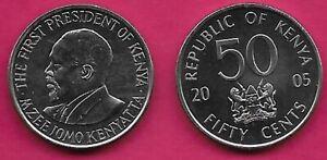KENYA 50 CENTS 2005 UNC FIRST PRESIDENT BUST OF MZEE JOMO KENYATTA LEFT,NATIONAL