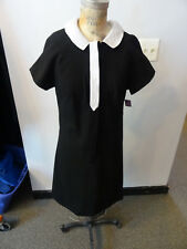 1960's Black Short Sleeves Shift Dress with White Peter Pan Collar, Buttons
