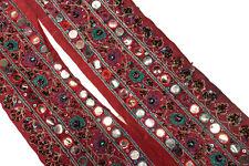 "Vintage Border Embroidered Lace Sari Trim 3"" Wide Woven Antique Ribbon ST2556"