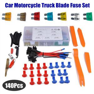 140Pcs Mix Assorted Car Motorcycle Blade Fuse Set 5A 7.5A 10A 15A 20A 25A 30A