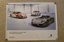 2010 Porsche 918, 911 GT3 R & Cayenne Hybrid Showroom Advertising Poster RARE!!