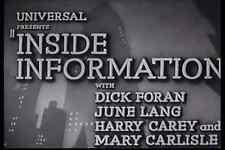 INSIDE INFORMATION (1939) DVD DICK FORAN, HARRY CAREY