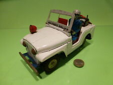 TIN PLATE TOYS JEEP CJ5 MILITARY POLICE - WHITE - GOOD CONDITION
