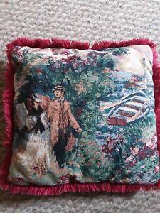 Vtg French Victorian Tapestry Cushion Pillow Shabby Fringe Needlepoint Sail Boat