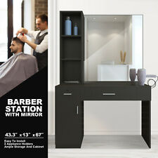 Wall Mount Barber Salon Station Makeup Beauty Hairdressing Equipment Set Mirrors