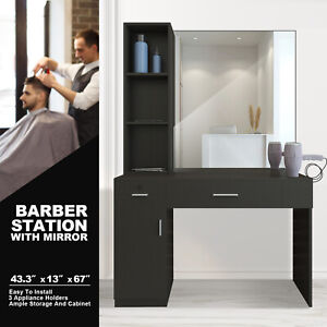 Wall Mount Barber Salon Station Makeup Beauty Hairdressing Equipment Set Mirrors