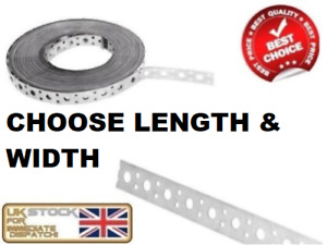 ENGINEERS FIXING BAND STEEL METAL PUNCHED PERFORATED STRIP STRAP 20mm 25mm 50mm