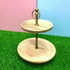 2 Tier Wooden Fruit Cupcake Pastry Display Stand Cake Serving Tray For Party AU