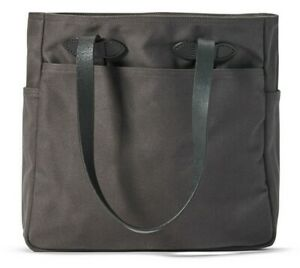 Filson Rugged Twill Tote Bag 20112029 Leather Strap Without Zipper Cinder Black