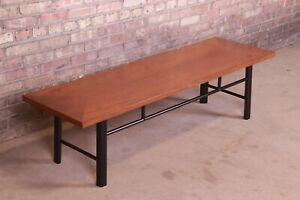 Baker Furniture Hollywood Regency Chinoiserie Walnut and Black Lacquer Coffee Ta