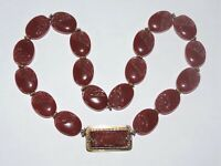 Vintage Sterling Gilt 20x15mm Red Carved Carnelian Beads Necklace 92 Grams 17.5""