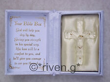 JESUS@Crucifixion@Floral Box@Inspirational Verse@BIBLE@GOLD CROSS@Religious Gift