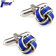 Men Blue Enamel Metal Knots Shirt Cufflinks With Velvet Bag TZG Brand Cuff Links